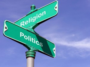 religion politics street sign
