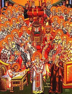A depiction of the Council of Nicaea in AD 325, at which the Deity of Christ was declared orthodox and Arianism condemned.